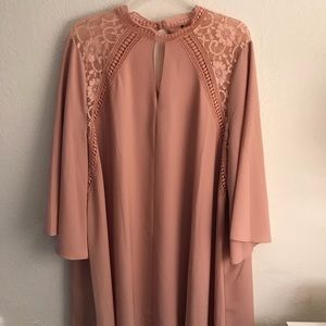 Lovedrobe Blush Bell Sleeve Crochet Detail Dress